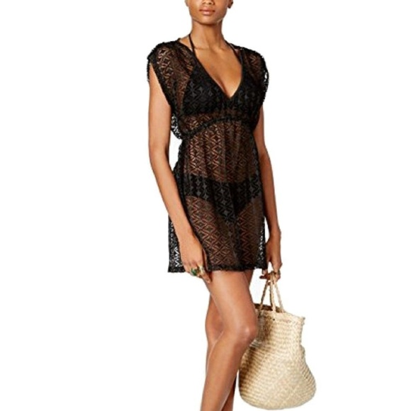 84c8a2a8cf738 Miken Crochet Empire-Waist Swimsuit Cover-Up Black